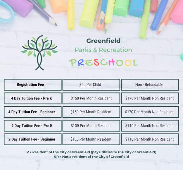 Preschool Pricing